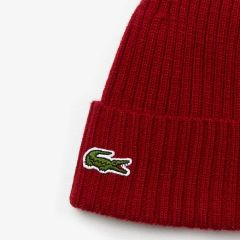 Lacoste Wool Hat with Burgundy Cuff